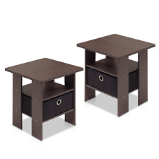 Set 2 Espresso Finish Wooden Storage End Table Nightstand Black Drawer Accent
