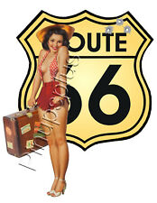Retro Route 66 USA Pinup Girl Waterslide Decal Sticker Bomber Nose Art S449