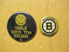 "2 VINTAGE BOSTON BRUINS PINS BUTTONS 1968 TEAM EMBLEM +  3 1/4"" 1970 SMILEY FACE"