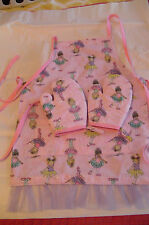 Children's BALLERINA Oven Mitts & Apron, Handmade, Quilted, Lined,100% Cotton