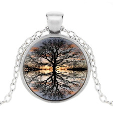 Vintage Tree of Life Photo Tibet Silver Cabochon Glass Pendant Chain Necklace