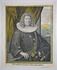 DOMINUS DAVID HOLZHALBIUS Portrait GRAVURE Seiller Rudolf Fussli 1710