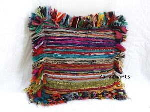 """Indian handmade Cotton Chindi Cushion Cover New 18"""" Multi Home Decor Pillow Case"""