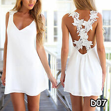 Women's White Short Mini Dress Boho Summer Holiday Beach Party Dresses Sundress