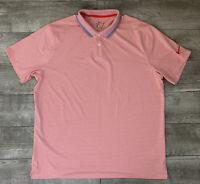 Nike Dri-Fit Men's Polo Short Sleeve White Red Striped Stretch Golf Shirt Sz XL