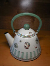 Pfaltzgraff NATUREWOOD Metal Kettle w Lid 2.5 Qt Green Nature