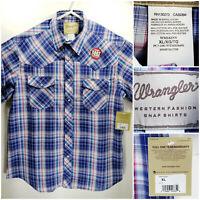 NWT Wrangler Western Fashion Mens XL Shirt Short Sleeve Button Up Plaid Checks