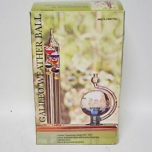 Acurite Galileo Thermometer with Storm Glass Barometer & Wood Base New