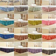Pleated Bed Skirt Around Dust Ruffle Elastic Bedding Bed Easy Queen King Twin