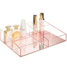 MyGift Clear Acrylic Vanity Makeup Cosmetic Tray with Reflective Rose Gold Base