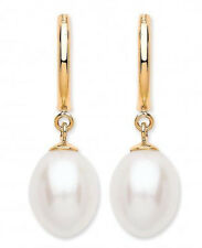 9CT HALLMARKED YELLOW GOLD FRESHWATER PEARL 20MM DROP DANGLE EARRINGS