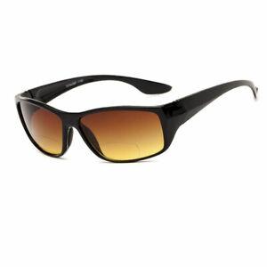 1 or 2 Pair(s) HD Amber Anti Glare Lens Inner Bifocal Sun Reader Sunglasses for