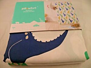 PILLOWFORT DINOSAUR BLUE GREEN YELLOW SHOWER CURTAIN 72X72 BATH  KIDS CHILD