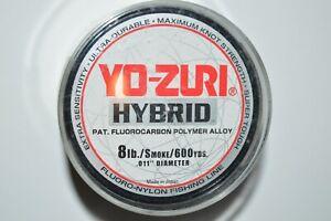 yo zuri fluorocarbon nylon hybrid 8lb smoke 600yds spool fishing line NEW