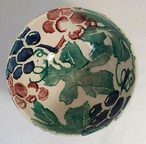 Early EMMA BRIDGEWATER Spongeware Pottery French Breakfast Bowl Vines Grapes
