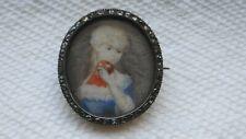 Antique Victorian Hand Painted Portrait & Rose Cut Diamond Pin/brooch