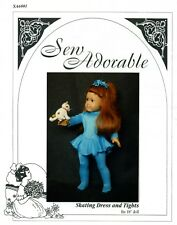 "Sew Adorable Doll Clothes Pattern fits 18"" American Girl, Skating Dress & Tights"