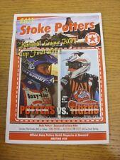 22/10/2011 Speedway Programme: Knockout Cup Final - Stoke Potters v Mildenhall F