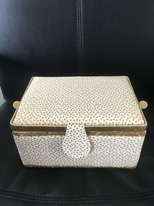Gold And White Star polka Dot Sewing Box - Premium Quality