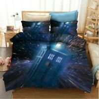 3D Doctor Who TARDIS Check Bedding Doona Duvet Cover PillowCase Quilt Cover