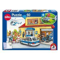 Schmidt Spiele Puzzle Polizeistation Kinderpuzzle mit Siku Hubschrauber 60 Teile