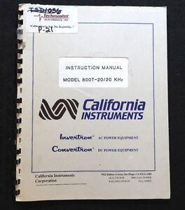CALIFORNIA INSTRUMENTS MODEL 800T 20/20 KHz OPERATING INSTRUCTION MANUAL