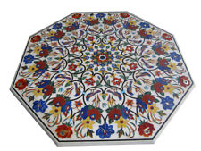 "42"" Marble Table top floral Inlay semi precious stones art room Home Decor"