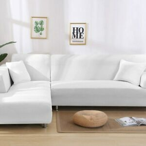 Sofa Cover Spandex Solid Color Elastic Corner Slipcover Protector Living Room