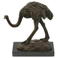 Strauß Bronze Skulptur Bronzefigur Dekoration Vogel Afrika Statue Strauss H:18cm