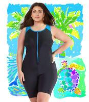 Woman swimsuit onepiece plus size 1XL-3XL Aquatard Unitard Aerobics Boyleg short