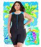 Woman swimsuit onepiece plus size 1XL-6XL Aquatard Unitard Aerobics Boyleg short