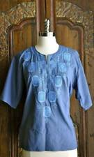 Vintage Chic blue Boho embroidered Hip Breeze Top mexican Stunning Sm
