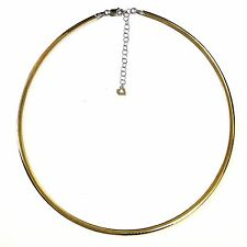 """14k white yellow gold ladies omega reversible necklace chain 16"""" 2"""" extension"""