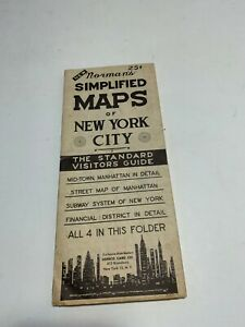1950s VTG MAP OF NEW YORK CITY MANHATTAN Norman's Simplified Maps NY NYC SUBWAY