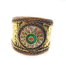 Tribal Brass Cuff Bracelet with Red Coral Turquoise Chips Gold Plated