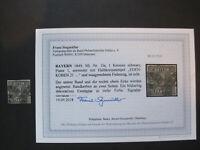 BAYERN MiNr.1  1a  Platte 1 gestempelt mit Befund und BPP Signatur (Z 228)