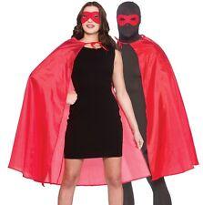 Adulti Uomo Donna Unisex SUPERHERO Costume KIT mantello e maschera Mantello ROSSO Nuovo W