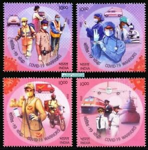 India 2020 Salute to Warriors Health Medicine Transport Post Man Van Stamps set