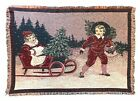 """Christmas Tapestry, Throw Blanket Children Sleigh in the Snow Afghan 46"""" x 65"""""""