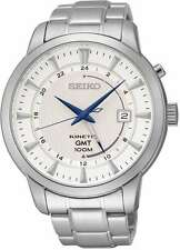 Seiko Core Collection SUN037 - Men's Silver Kinetic GMT Watch w/ White Dial