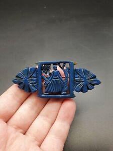 Vintage 1940s Blue Carved Galalith Brooch