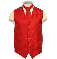 New Brand Q Men's formal Paisley vest tuxedo waistcoat_neck tie RED wedding prom