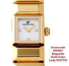 Swarovski Baguette 999987 Gold Color Lady Women WATCH Stylish Cute Rich Gift NIB