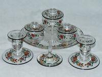 MAGNIFICENT ART DECO STUART ENAMELLED GLASS DRESSING TABLE SET