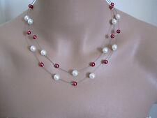 Collier Blanc/Bordeaux, p robe de Mariée/Mariage/Soirée, perles de verre nacrées