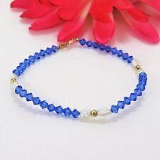 Vintage Blue Aurora Borealis Crystal, 14 k Yellow Gold & Pearl Bracelet