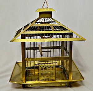 Vintage Hendryx brass bird cage square pagoda Hollywood Regency Chinoiserie
