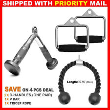 4PCs Home Gym Exercise Machine Attachments Tricep Rope D Handle Pair V Curl Bar