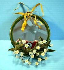 Petites Choses 6 inch Mirror Metal Frame Porcelain Flowers Vintage