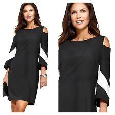 Creation L Kaleidoscope Plus Sz 22 Black CutOut Shoulder DRESS Flared Sleeve £85